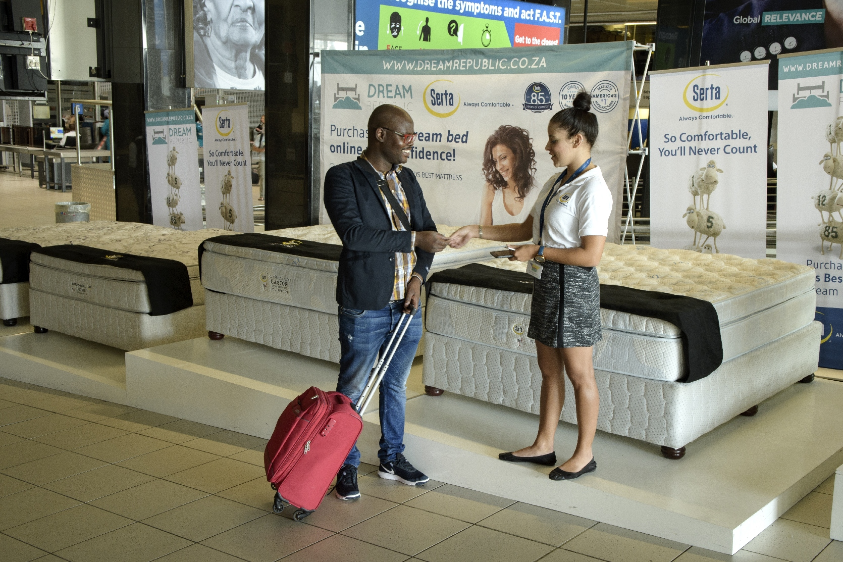 Airport Ads Activation for Serta at OR Tambo Int
