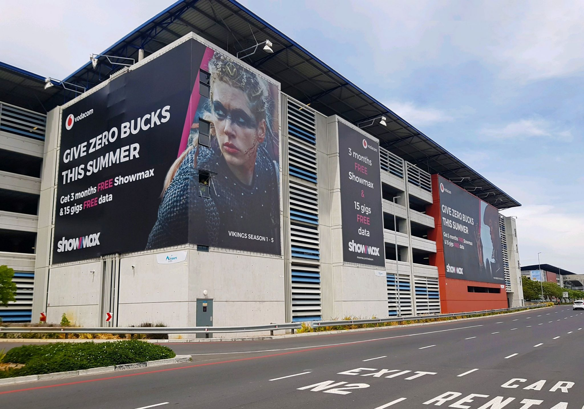 Showmax Building advertising wrap at cape town airport